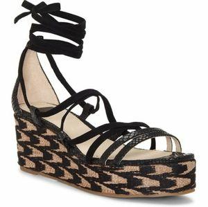 Louise et Cie Lo-renz Black Wedge Platform Sandals